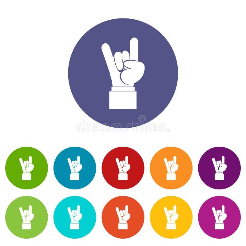 Icônes réglées de signe de main de rock illustration de vecteur