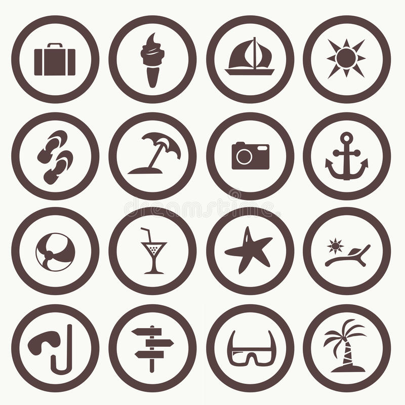 Icônes réglées de tourisme et d'été illustration de vecteur