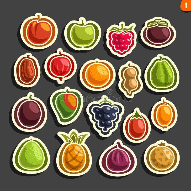 Icônes réglées de vecteur des fruits et des baies colorés illustration stock