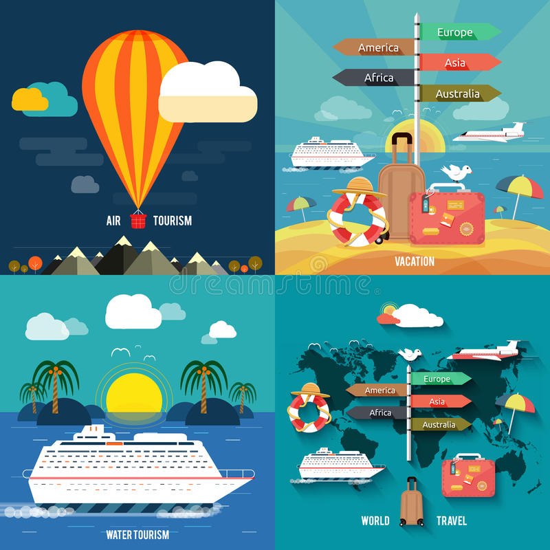 Icônes réglées des vacances de déplacement et de planification illustration stock