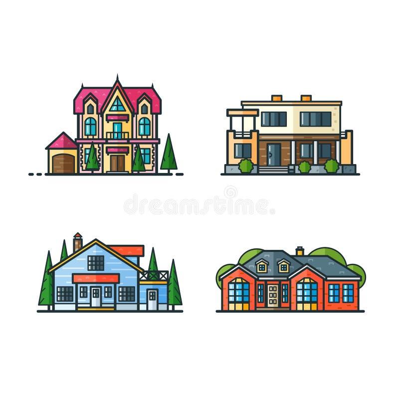 Icônes résidentielles de maisons illustration de vecteur