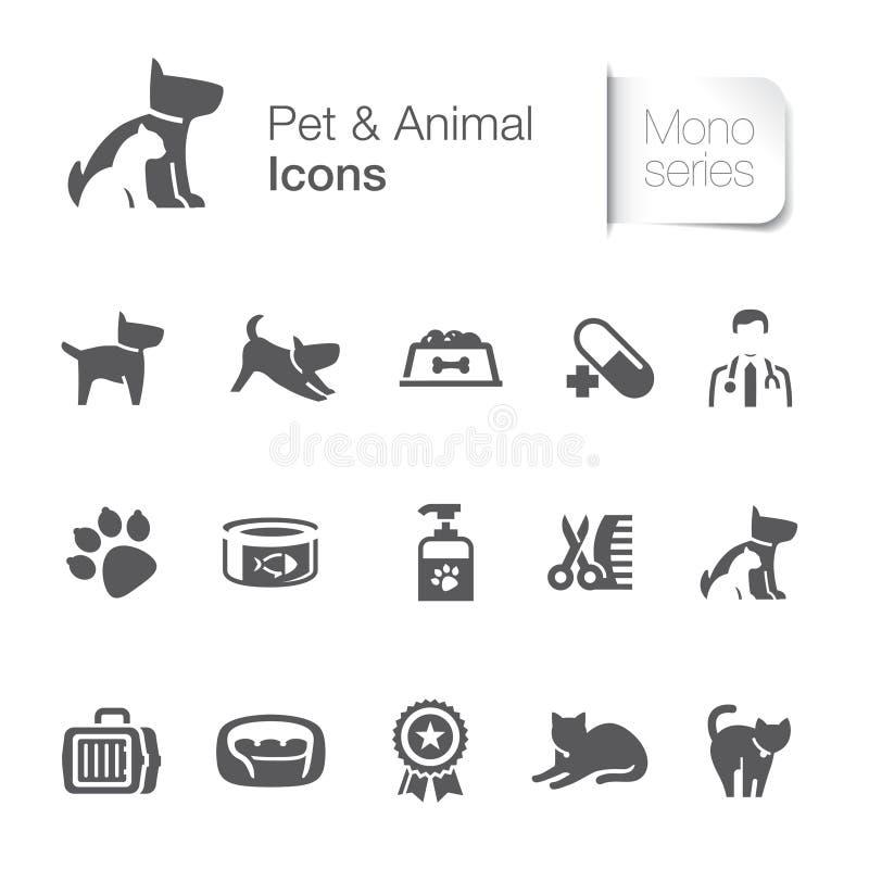 Icônes relatives d'animal familier et animales illustration stock