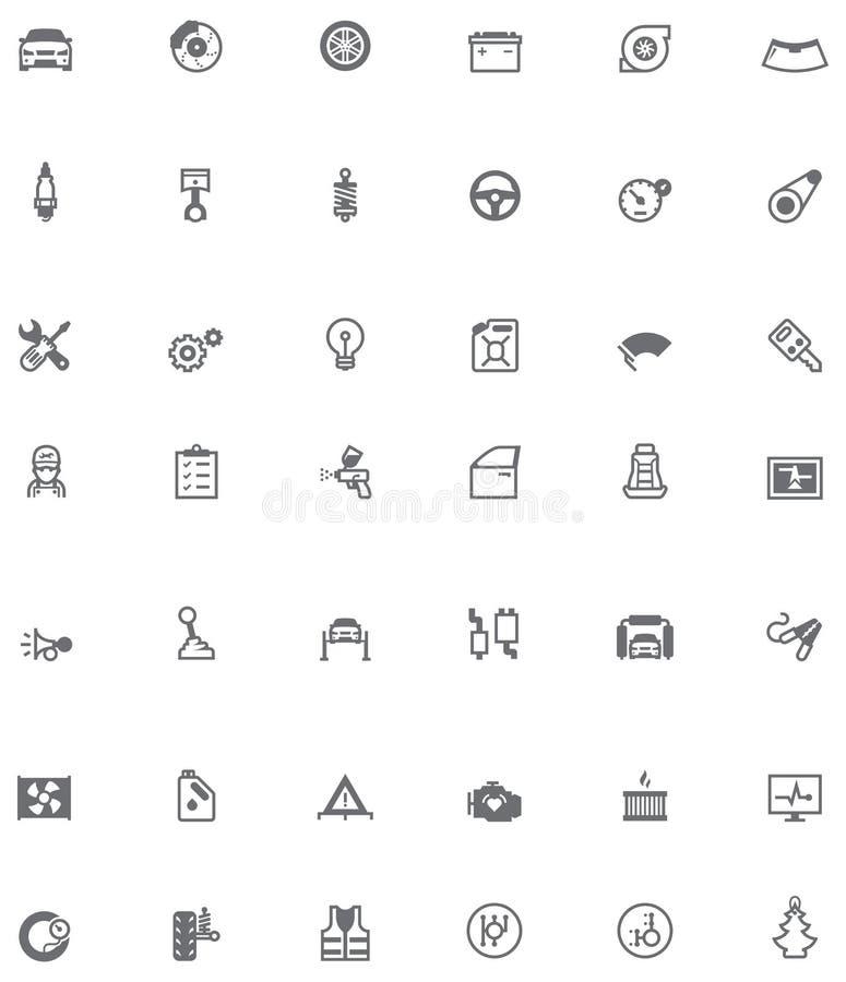 Icônes relatives de service de voiture de vecteur illustration stock