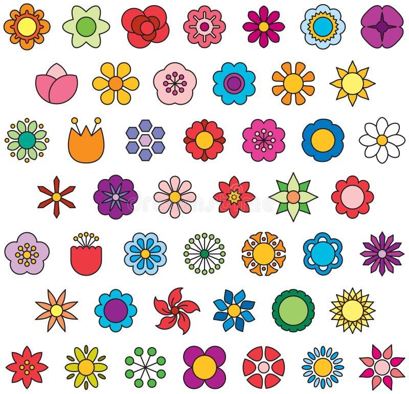 Icônes remplies par FLEURS d'ensemble illustration de vecteur