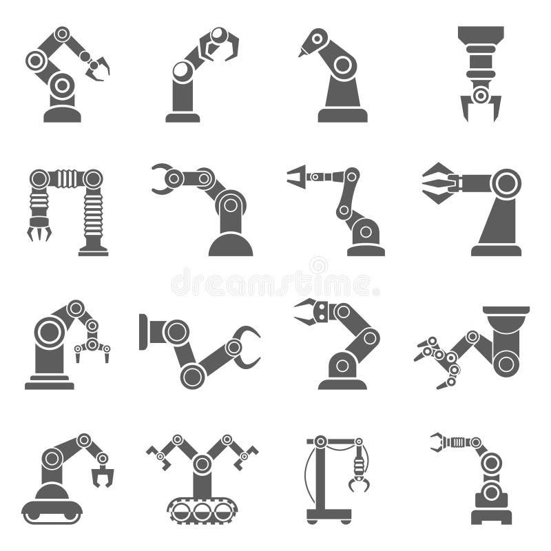 Icônes robotiques de noir de bras réglées illustration de vecteur