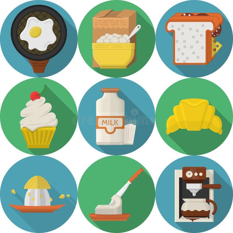 Icônes rondes de couleur plate pour le petit déjeuner illustration stock