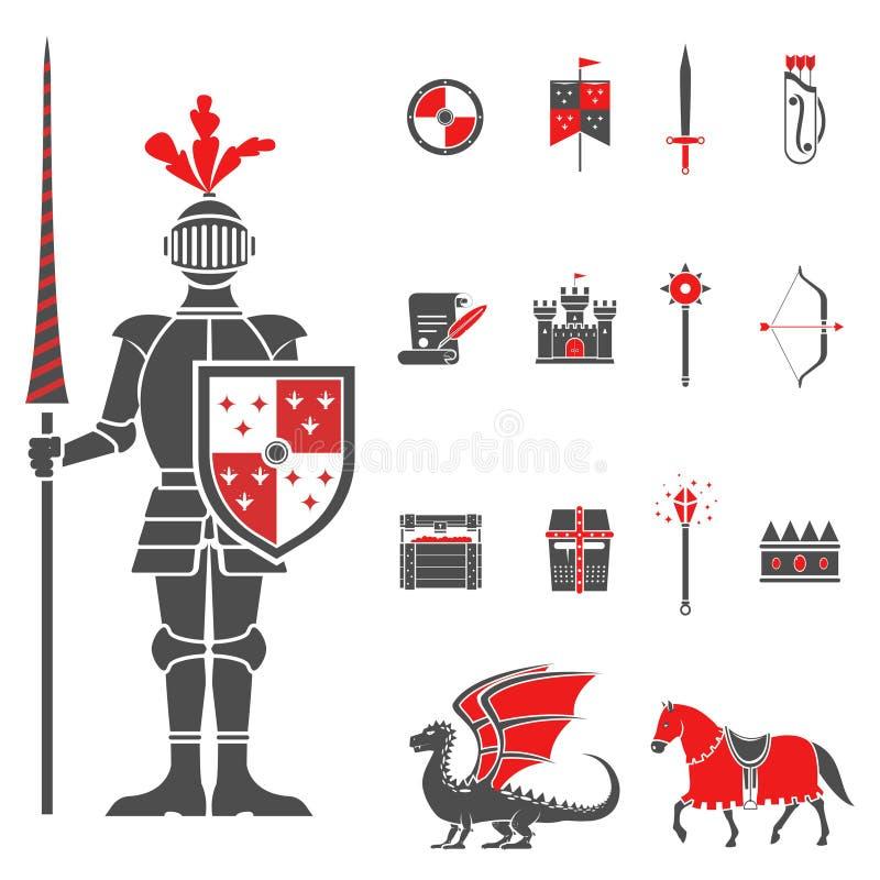 Icônes rouges de noir médiéval de chevaliers réglées illustration de vecteur