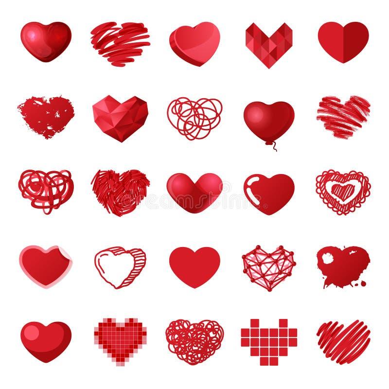 Icônes rouges de vecteur de coeur de style différent d'isolement illustration stock