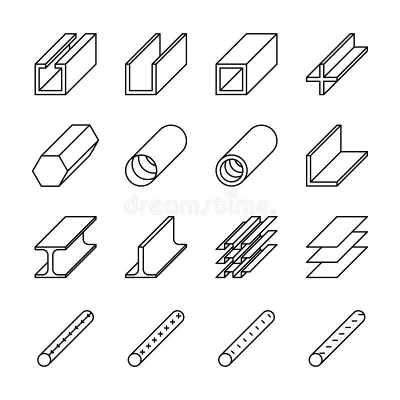 Icônes roulées de produit métallique Pictogrammes de vecteur illustration libre de droits