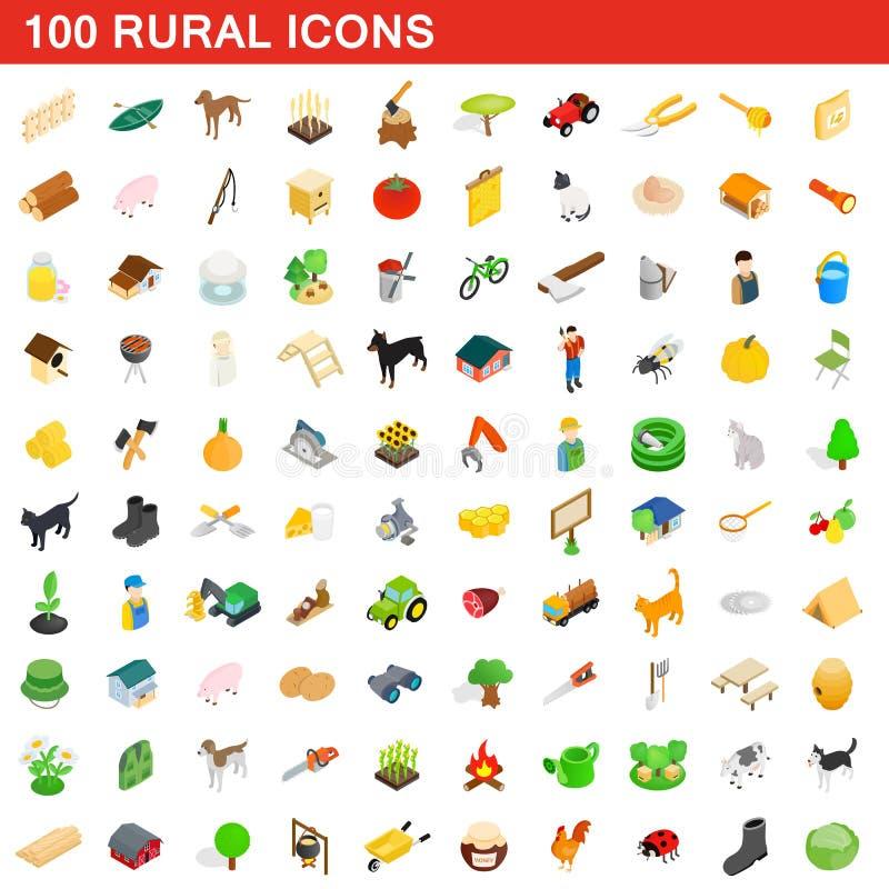 100 icônes rurales réglées, style 3d isométrique illustration de vecteur