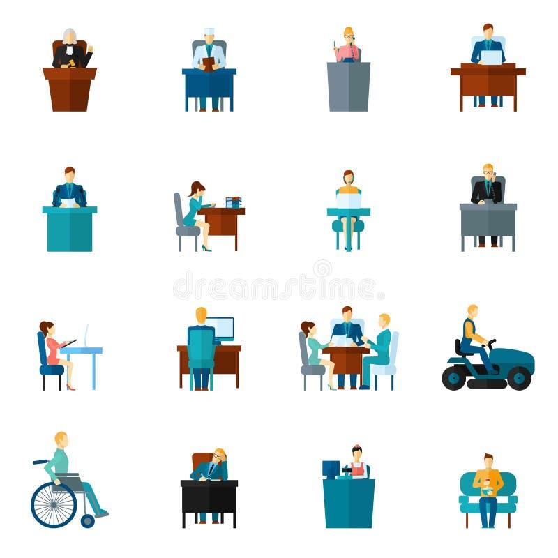 Icônes sédentaires plates illustration stock