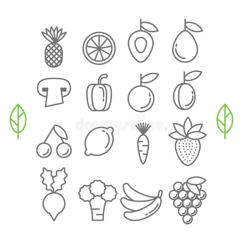 Icônes saines de fruits et légumes d'eco de vecteur illustration stock