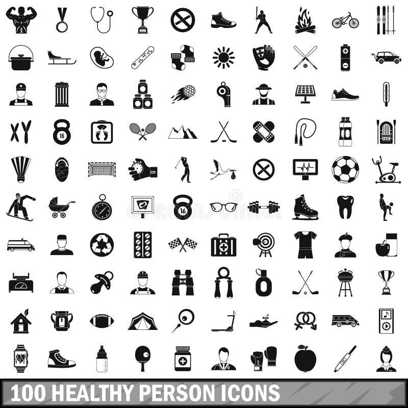 100 icônes saines de personne réglées, style simple illustration stock