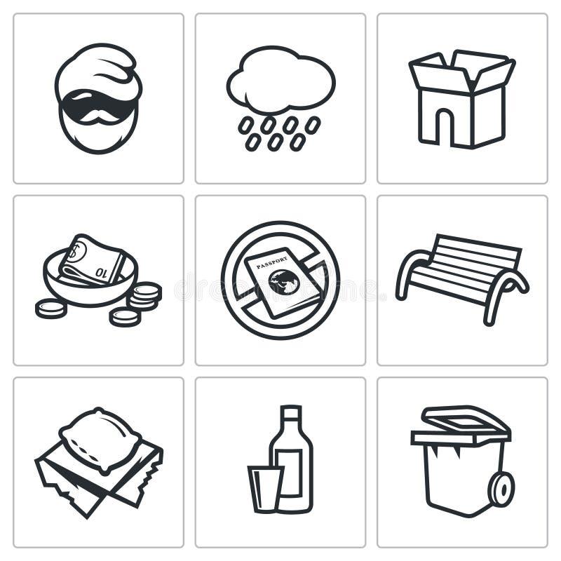 Icônes sans abri réglées Illustration de vecteur illustration stock
