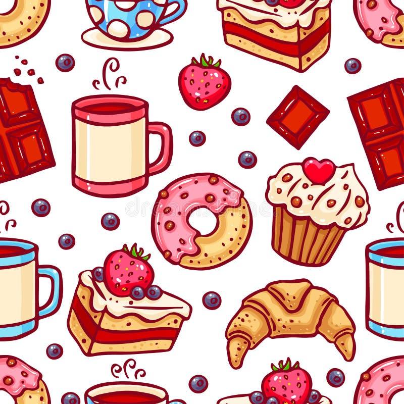 Icônes sans couture de café et de desserts illustration stock