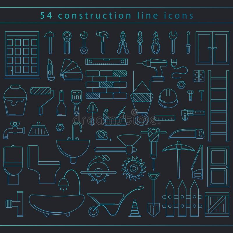 Icônes sans couture de construction photo stock