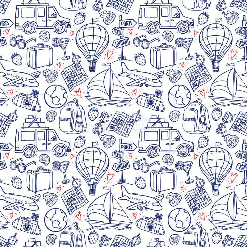 Icônes sans couture de voyage illustration stock