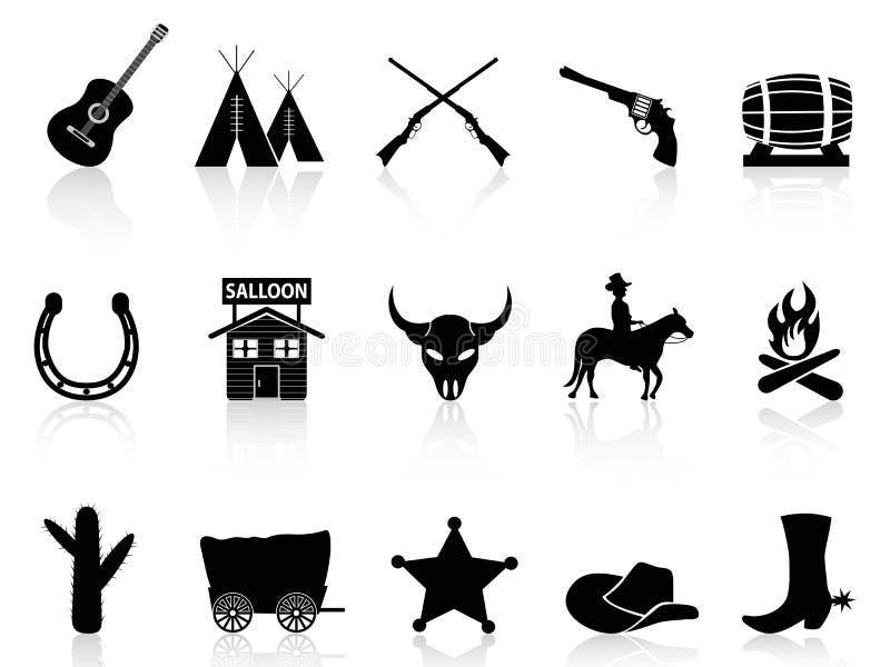 Icônes sauvages d'ouest et de cowboys réglées illustration libre de droits