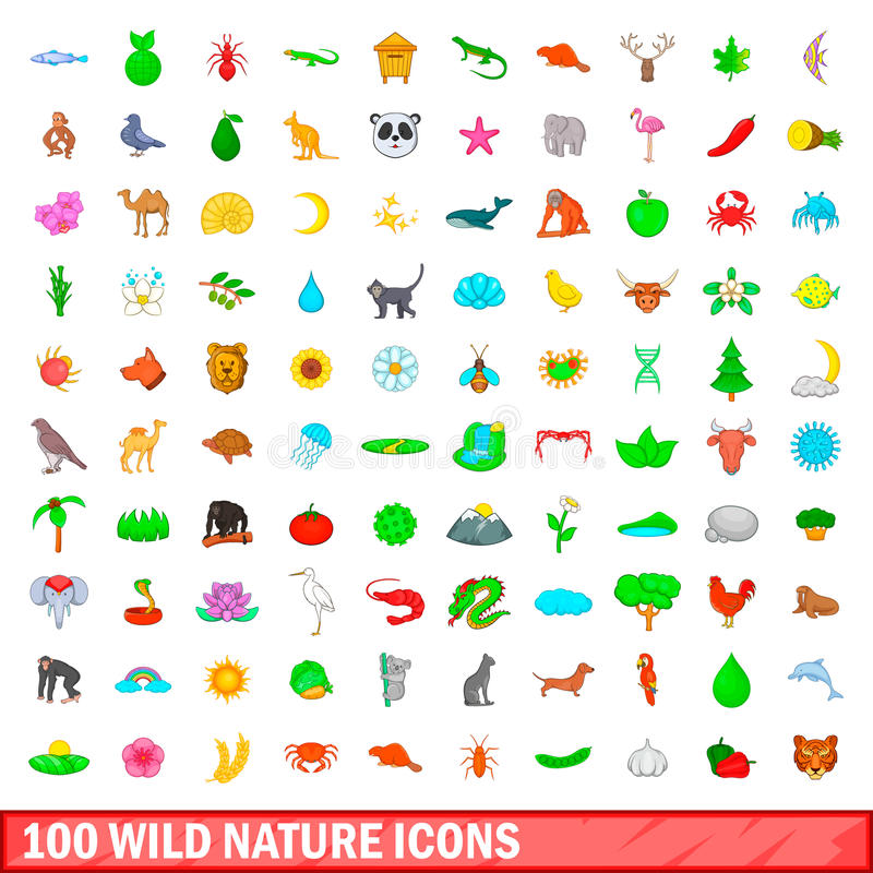 100 icônes sauvages de nature réglées, style de bande dessinée illustration libre de droits
