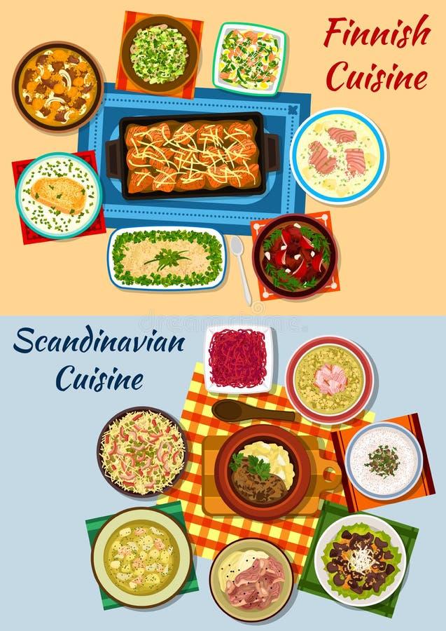 Icônes scandinaves et finlandaises de dîner de cuisine illustration de vecteur