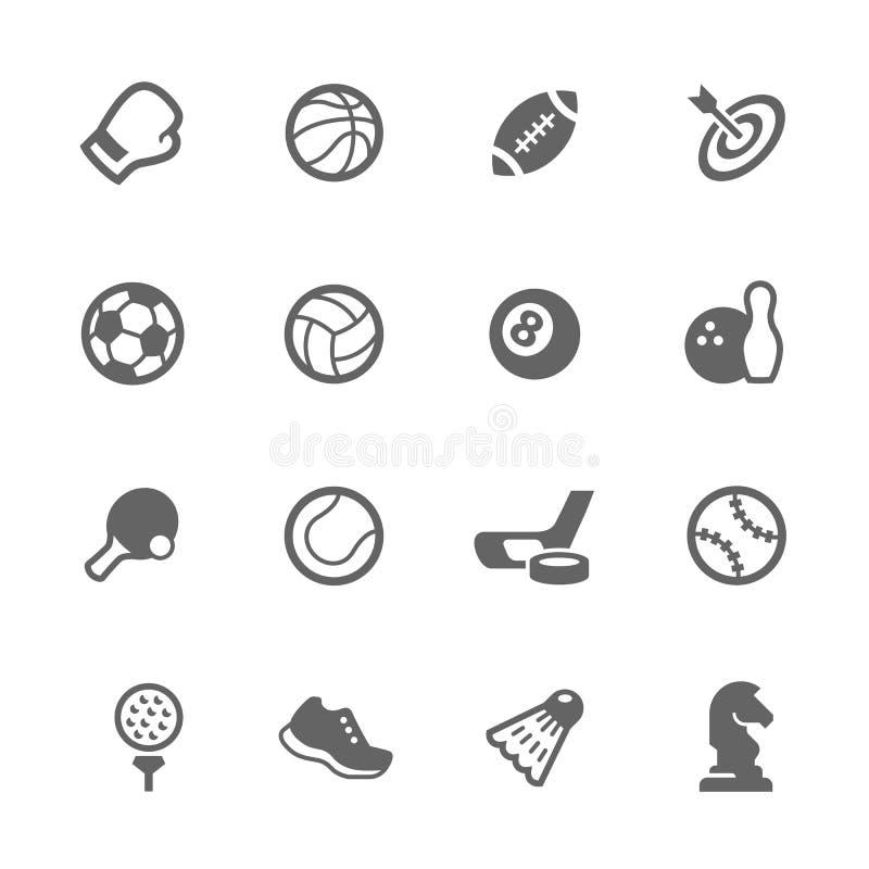 Icônes simples d'équipement de sport illustration stock