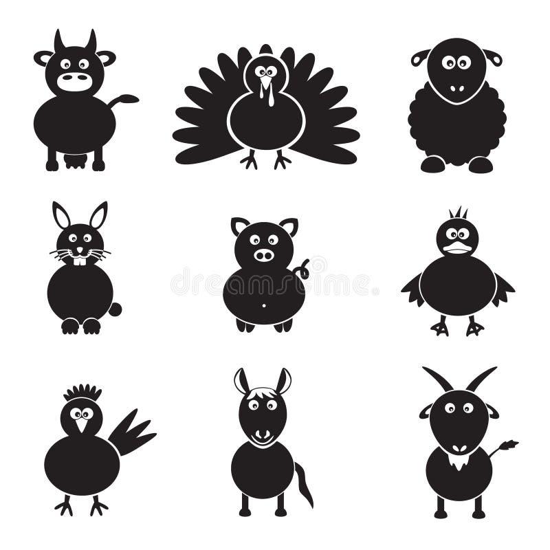 Icônes simples d'animaux de ferme réglées illustration de vecteur