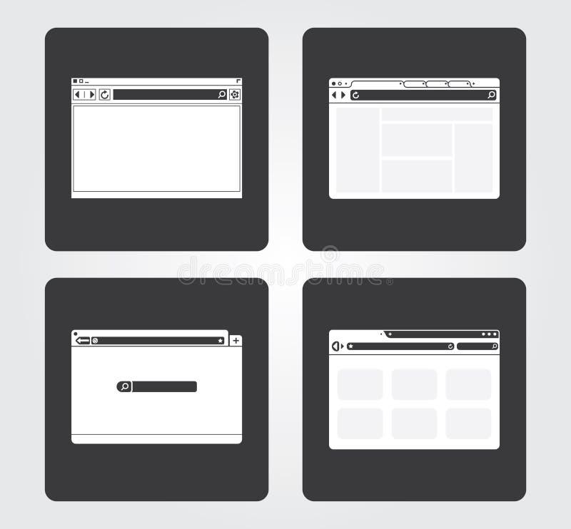Icônes simples de Web : navigateur images libres de droits