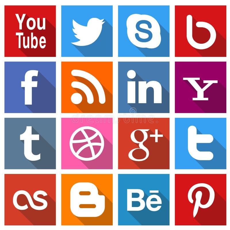 Icônes sociales carrées 2 de media illustration de vecteur