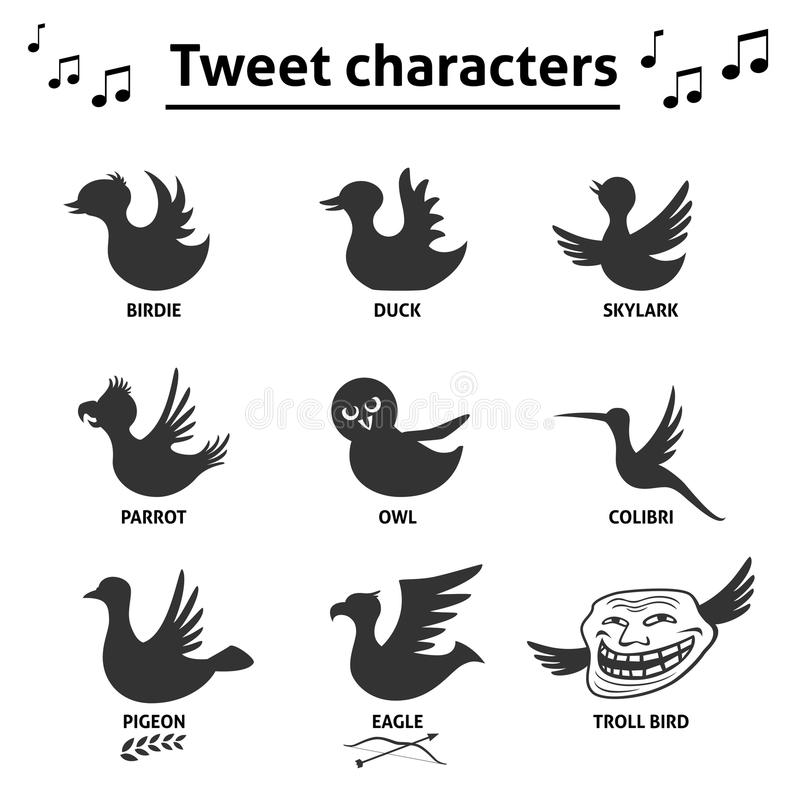Icônes sociales d'Internet de media d'oiseaux de bip illustration stock