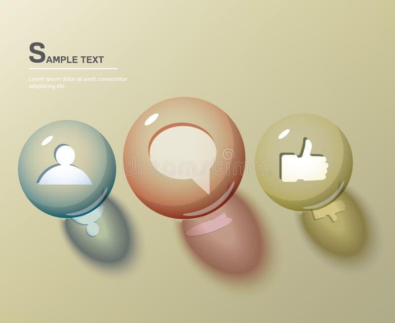 Icônes sociales dans les sphères en verre illustration stock