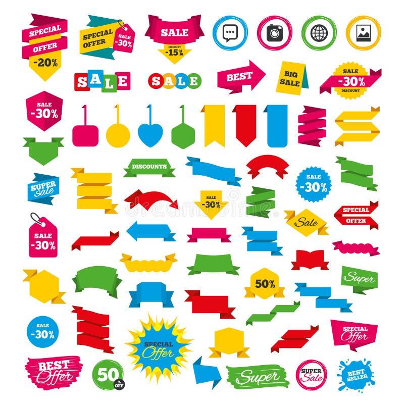 Icônes sociales de media Bulle et globe de la parole de causerie illustration de vecteur