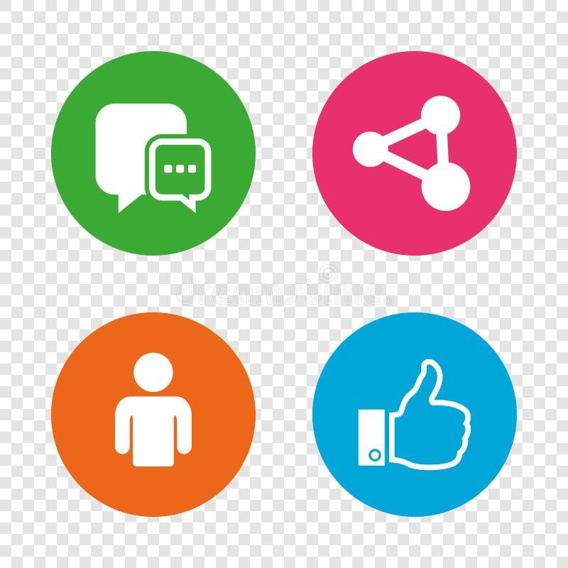 Icônes sociales de media Bulle et part de la parole de causerie illustration de vecteur
