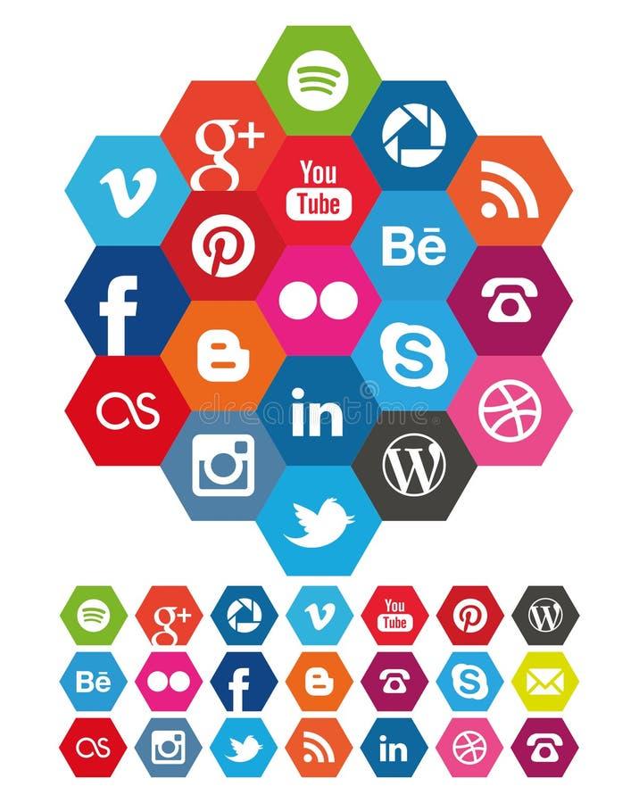 Icônes sociales de media d'hexagone illustration libre de droits