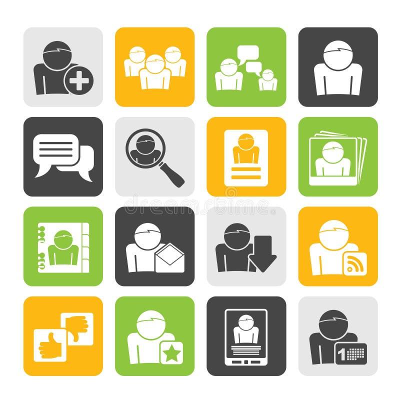 Icônes sociales de media et de réseau de silhouette illustration libre de droits