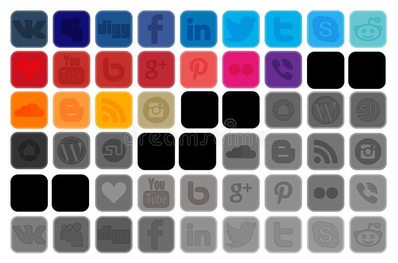 Icônes sociales de media pour illustration de vecteur