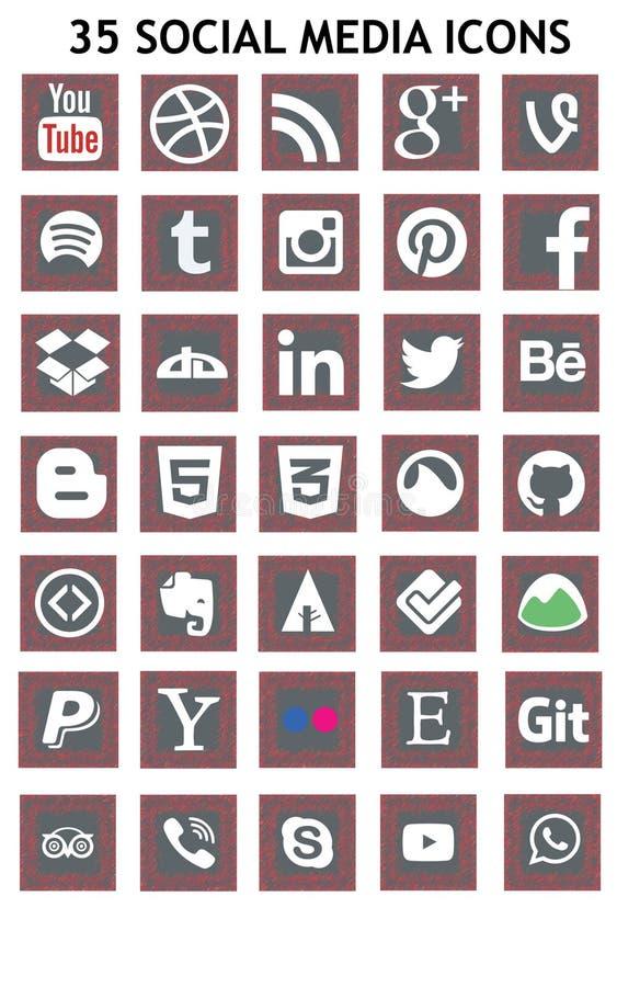 Icônes sociales de media (Set1) illustration de vecteur