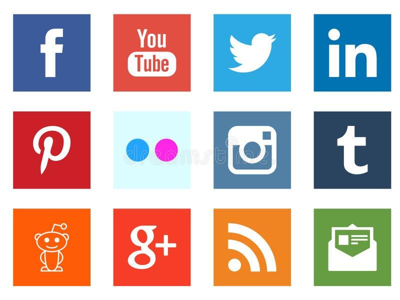 Icônes sociales de place de mise en réseau de media illustration de vecteur