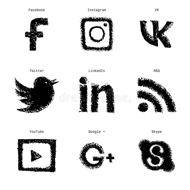 Icônes sociales de Web de media de croquis tiré par la main réglées illustration libre de droits