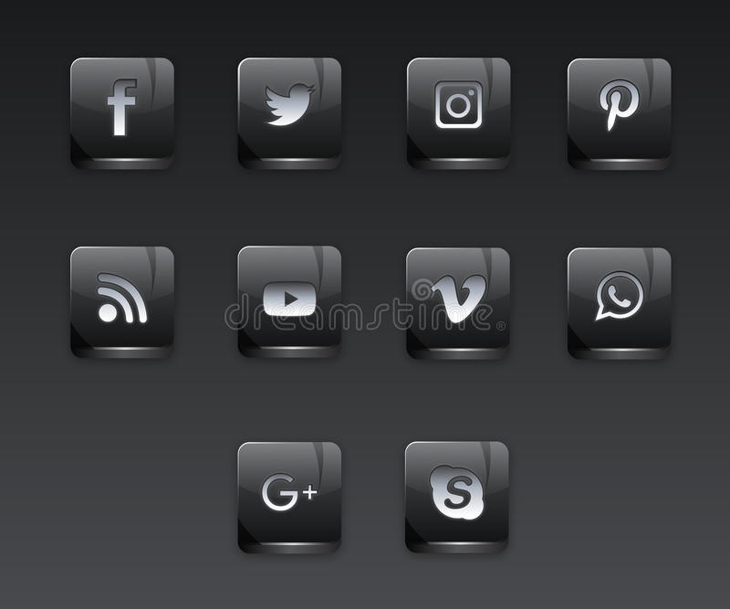 Icônes sociales foncées de réseau image stock