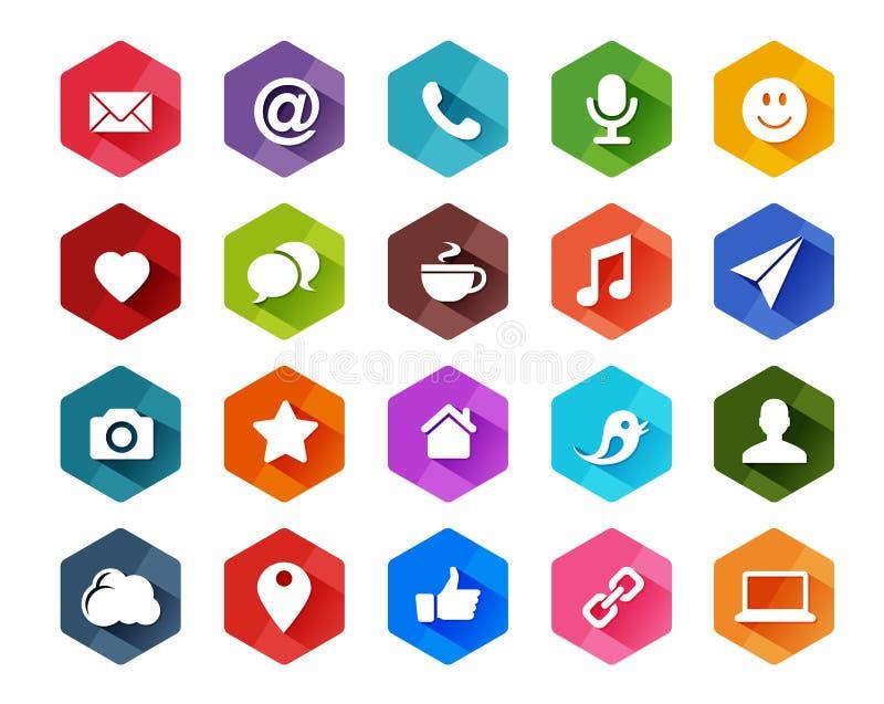 Icônes sociales plates de media pour le fond clair illustration libre de droits