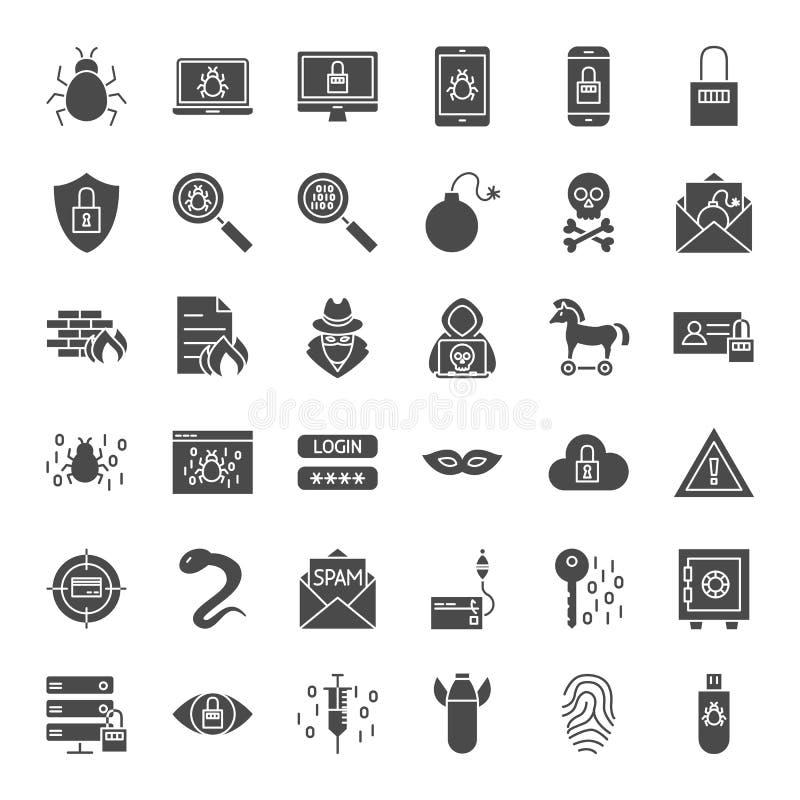 Icônes solides de Web de sécurité de Cyber illustration de vecteur
