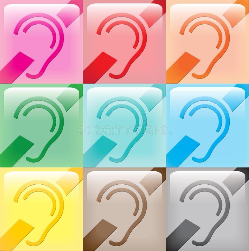 9 icônes sourdes de signe illustration libre de droits