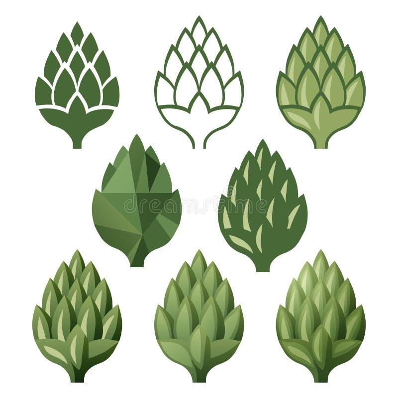 Icônes stylisées d'houblon illustration stock