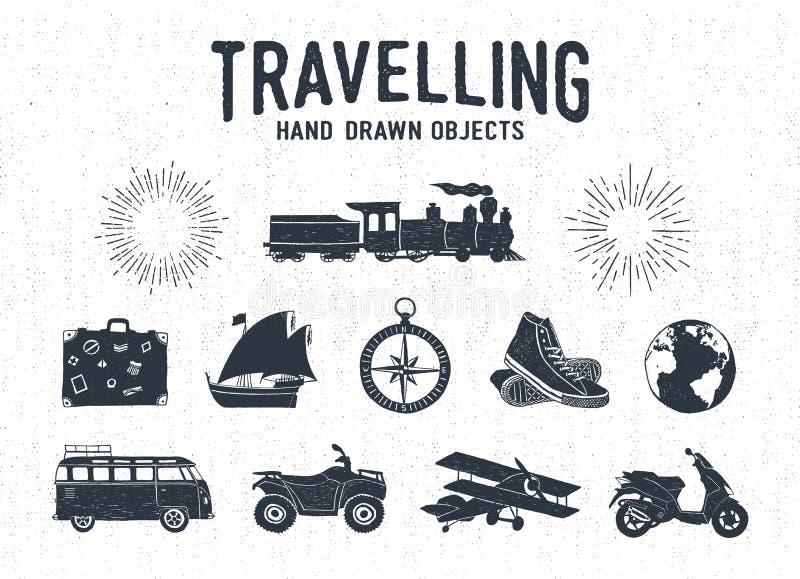 Icônes texturisées tirées par la main de voyage de vintage réglées illustration stock