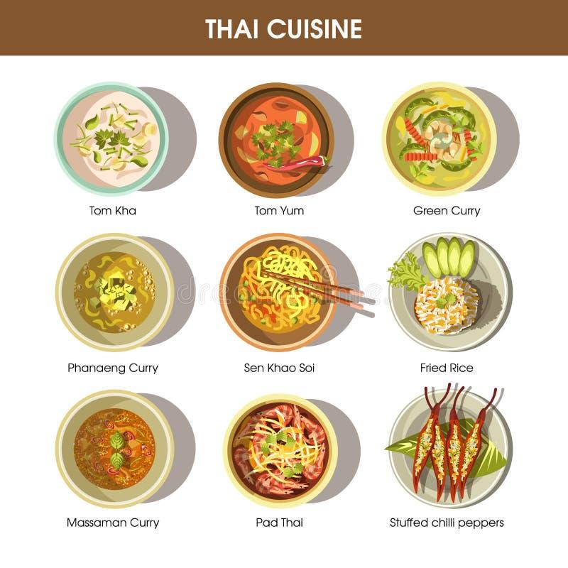 Icônes thaïlandaises de vecteur de cuisine de nourriture pour le menu de restaurant illustration libre de droits