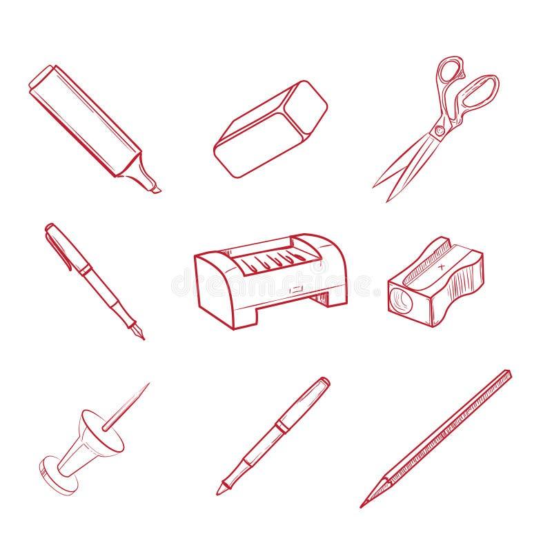 Icônes tirées par la main d'équipement de bureau illustration stock