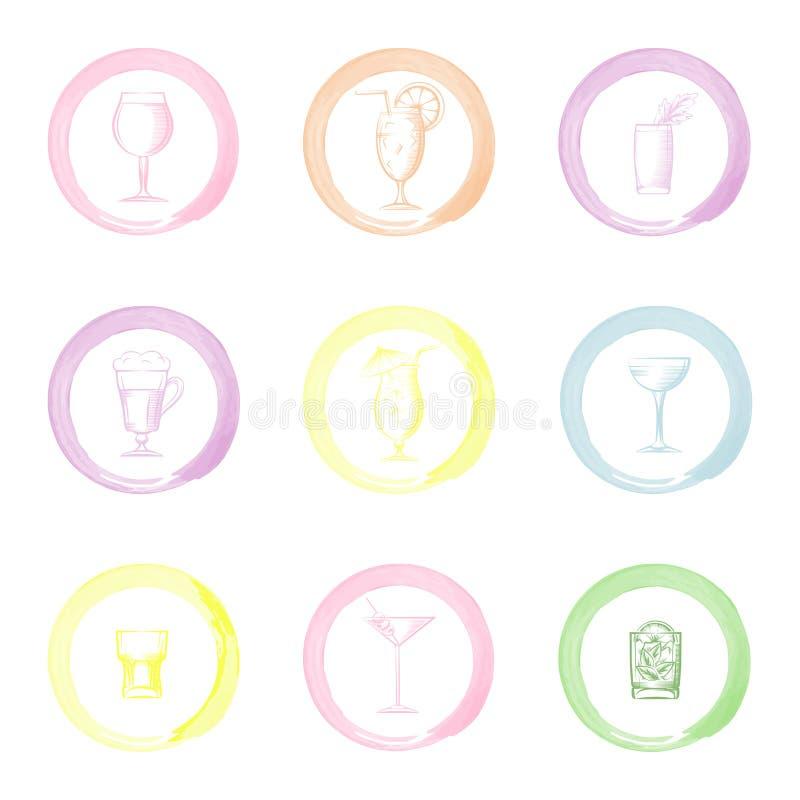 Icônes tirées par la main de boissons illustration de vecteur