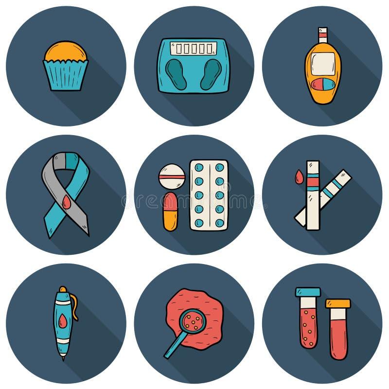 Icônes tirées par la main de diabète illustration libre de droits