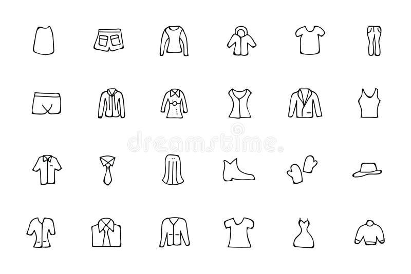 Icônes tirées par la main 4 de griffonnage de vêtements illustration stock