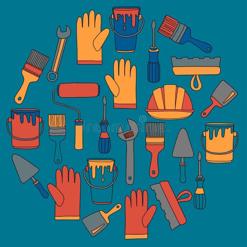 Icônes tirées par la main de vecteur d'outils de réparation et de rénovation illustration de vecteur
